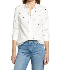 women's halogen classic button-up shirt, size large - ivory