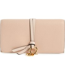 women's chloe alphabet leather wallet - pink