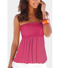 yoins pink backless design shirred strapless cami