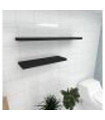 kit 2 prateleiras banheiro em mdf sup. inivisivel preto 1 60x20cm 1 90x20cm modelo pratbnp35