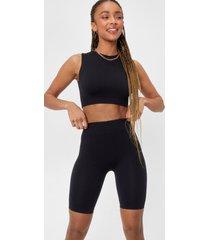 womens seamless nights crop top and biker shorts set - black