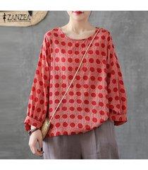 zanzea mujeres de manga larga a rayas con cuello redondo de tapas de la camisa floja de la impresión floral de la blusa del tamaño extra grande -rojo