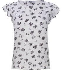 blusa floral con arandelas color negro, talla m