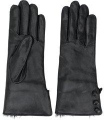 n.peal button detail gloves - black