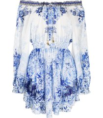 camilla floral-print drop-shoulder short dress - white