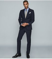 reiss remote slim - cotton satin slim fit shirt in mid blue, mens, size xxl