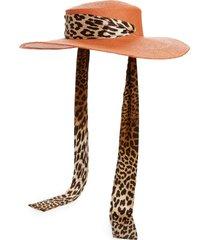 women's gladys tamez alexandra silk scarf tie panama hat -