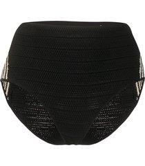 sandro paris two-tone crochet shorts - black