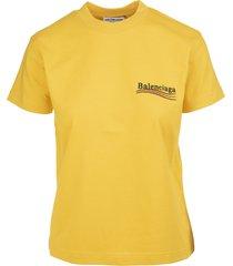 balenciaga woman yellow slim fit political campaign t-shirt