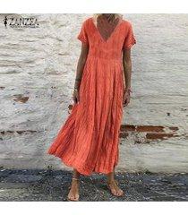 zanzea plus s-5xl de las mujeres de manga corta con cuello en v larga ocasional camisa de vestir de vestido a media pierna vestido de tirantes -naranja