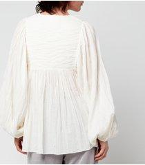 skall studio women's nadja cotton gauze blouse - off white - m