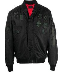 diesel black gold patch detail bomber jacket - blue
