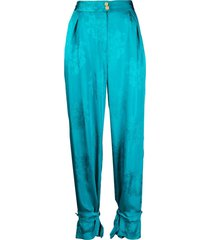 pinko ruched floral-print trousers - blue