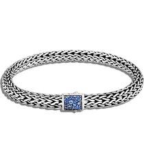 classic chain' birthstone sapphire sterling silver bracelet - september