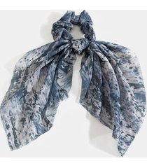 women's kasey printed chiffon pony scarf in gray by francesca's - size: one size