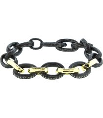 four gold link oxidized silver hammered bracelet
