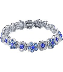 2028 silver-tone blue flower stretch bracelet