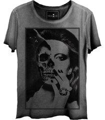 camiseta skull lab  girl face cinza - kanui