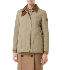 women's burberry cotswold thermoregulated quilted barn jacket, size small - beige