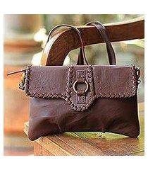 leather shoulder bag, 'coffee brown boho' (indonesia)