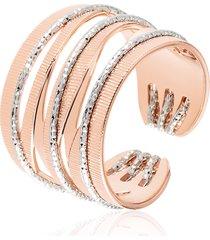 anello medium in bronzo bicolore per donna
