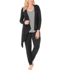 three piece waterfall cardigan, top and casual pants set