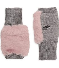 mercury faux fur wool-blend fingerless mittens