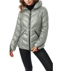 women's bernardo water resistant hooded puffer coat, size xx-large - grey