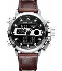 reloj cuarzo deportivo hombre luminoso megalith 8051 plateado
