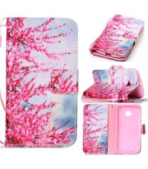 moto e (2nd gen.) case,moto e2 wallet case,xyx [plum flower][double sided design