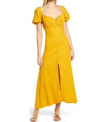 women's prim women's puff sleeve button midi dress, size x-small - yellow