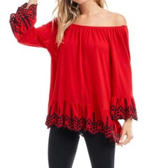 fever bell sleeve t-shirt with embroidery