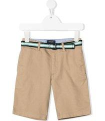 ralph lauren kids stripe belt-detail chino shorts - neutrals