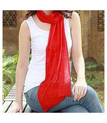 wool scarf, 'smart in scarlet' (india)