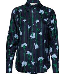 toiveikas viivakukka shirt långärmad skjorta blå marimekko