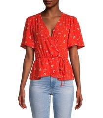 astr the label women's floral surplice blouse - red floral - size l