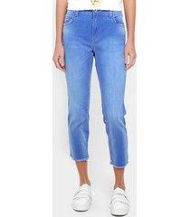 calça jeans girlfriend colcci desfiada cintura média feminina