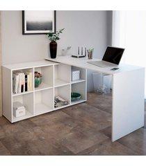 mesa para escritório com armário nero 8 nichos branco - artany