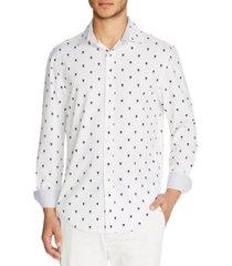 tallia men's slim-fit performance stretch mini skull print long sleeve shirt