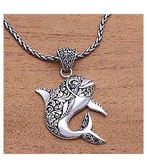 sterling silver and amethyst pendant necklace, 'lovina dolphin' (indonesia)