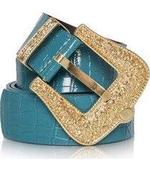 cinto azul fivela dourada