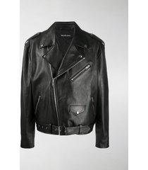 balenciaga logo-print biker jacket