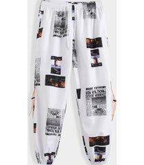 pantalones cargo con cordón y estampado de letras hip-hop de moda informal para hombre koyye