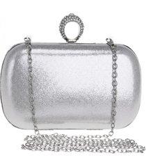 bolsa clutch liage alça removível tecido metalizado metal strass cristal pedra prata - kanui
