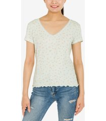 hippie rose juniors' printed lace-trim ribbed t-shirt