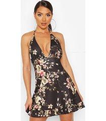floral print halter neck mini dress, black