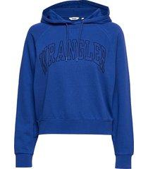 retro hoody cobalt blue hoodie trui blauw wrangler