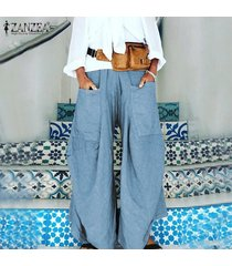zanzea ocasional de las mujeres elásticos de la cintura ancha pantalones de pierna culottes tirar-en pantalones largos -azul