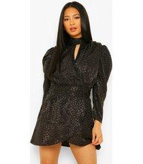 petite jacquard luipaardprint mini jurk met hoge kraag, black