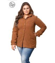 casaco madame modelagem grande de lã batida caramelo